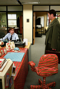 I'm sorry, Jim, but no office prank is worth wrapping a fucking swivel chair.Image source